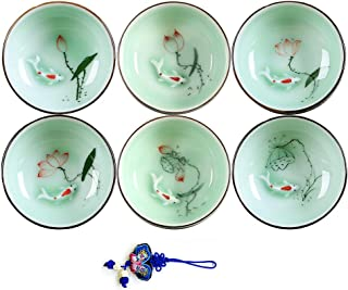 ZHAMS Hand Painted Kungfu Teacup,Chinese Long-Quan Celadon Teacup,Fishes and Lotus Pattern,Set of 6