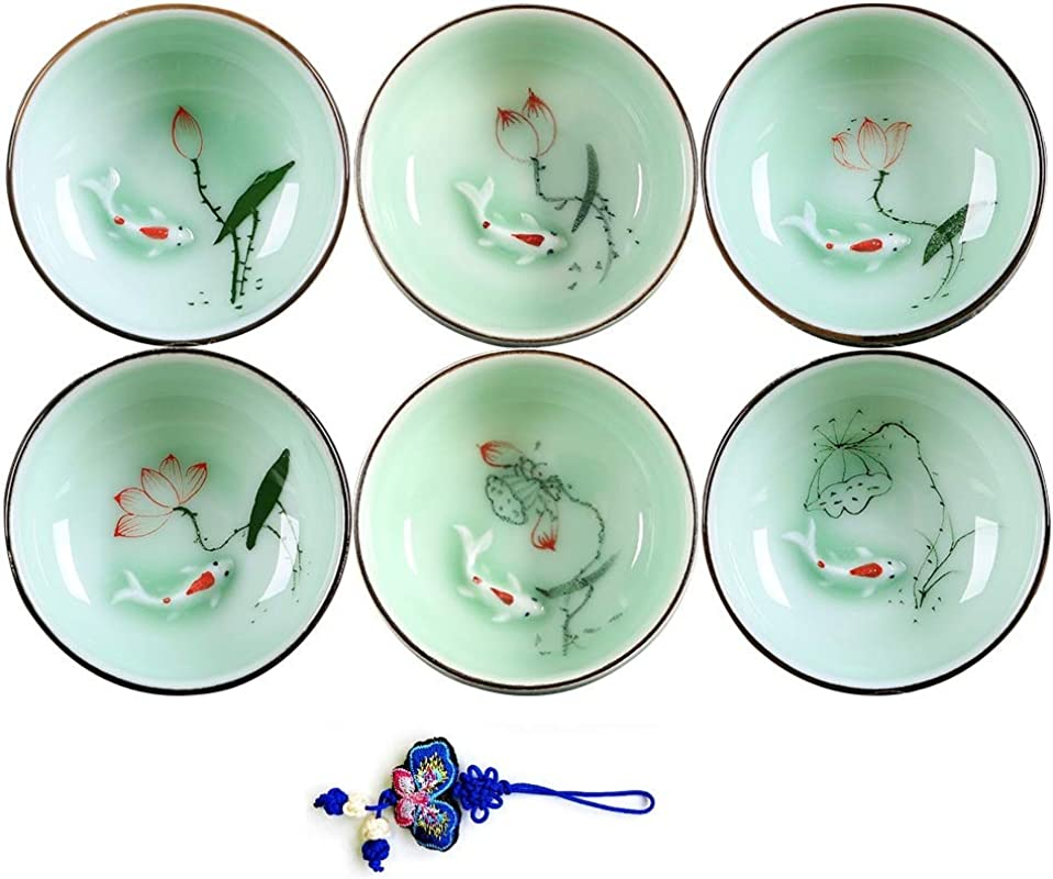 ZHAMS Hand Painted Kungfu Teacup Chinese Long Quan Celadon Teacup Fishes And Lotus Pattern Set Of 6