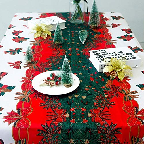 Mantel de mantel protector de mesa hogar Navidad Escena Oilcloth diseñado tela impresa paño de cocina fiesta decoración lino camino cena creativo, Lino, Bow Pattern, 150 * 180cm
