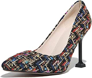Plaid Colorblock High Heels For Banquet Wedding Dress Daily (Color : C, Size : 35)