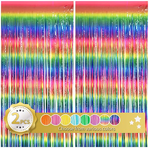 BEISHIDA 2 Stück Regenbogenfolie Fransenvorhang mehrfarbige Quaste Vorhänge Party Foto Hintergrund für Geburtstag Hochzeit Verlobung Abschluss Babyparty Braut (1 x 2 m)