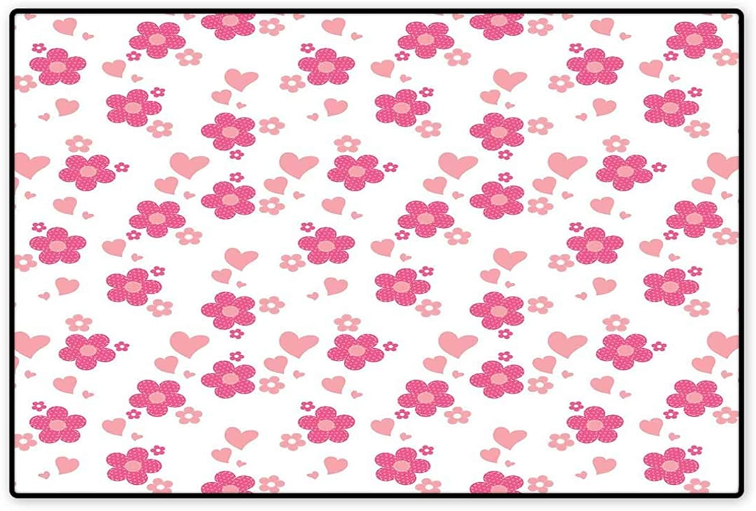 Pink and White Door Mat Indoors Patchwork Style Daisies with Big and Little Hearts Romantic Springtime Floor Mat Pattern 32 x48  Pink Coral White