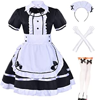 Japanese Anime Sissy Maid Dress Cosplay Sweet Classic Lolita Fancy Apron Maid Dress with Socks Gloves Set