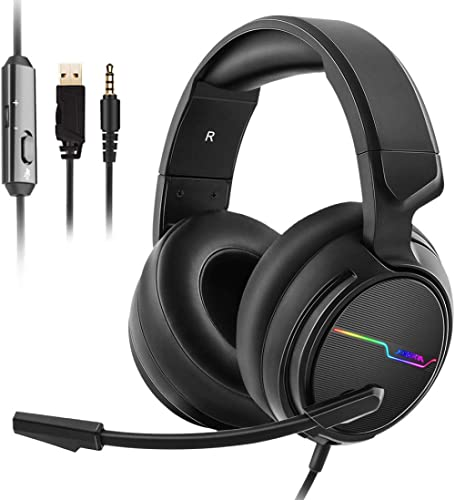 Jeecoo Xiberia Stereo Gaming Headset for PS4, Xbox One S - Noise Cancelling Over Ear Headphones with Microphone - LED...
