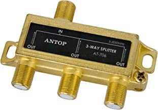 ANTOP Low-Loss 3 Way Coaxial Splitter for TV Antenna and Satellite 18K Gold-Plated Chassis 2GHz - 5-2050MHz All Port DC Power Passing