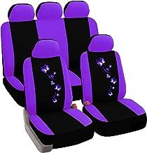 eSituro Funda de Asiento de Coche Universal Set de Fundas de Asiento para automóvil con Mariposa Flor Negro Lila SCSC0059