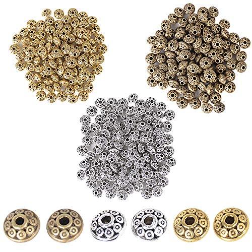 JNCH 300pz Perline Distanziatori Tibetano Argento Bronzo Oro Antico Vintage Accessori per Creazione Gioielli Fai da Te Orecchini Collana Bracciali
