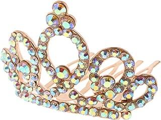 Flameer Sparkling Crystal Rhinestone Mini Crown Tiara Wedding Pageant Hair Jewelry - Rose Gold, 4.7 x 4.4 x 3.5 cm