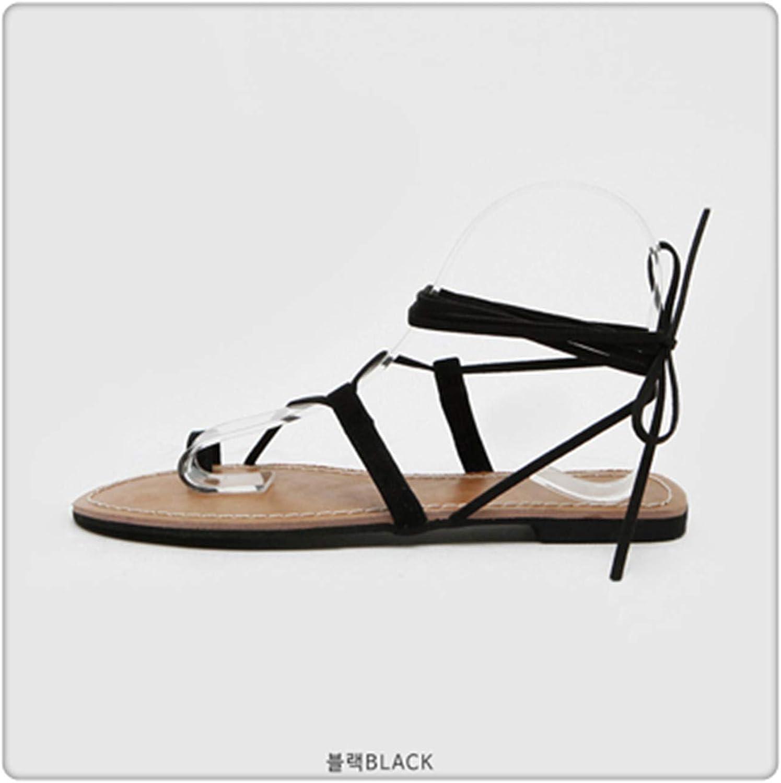 AAKOPE& Sandals Women's Strap Summer Flat Fairy Wind Bohemian Folding Beach Seaside Vacation Roman Tie Black Zigzag 7.5