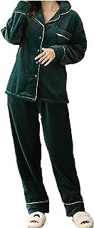 ملابس نوم ناعمة نسائية من قطعتين، سترة نوم من الفلانيل / سترة علوية بألوان سادة + بنطال، للسيدات في المنزل داخل المنزل وال...