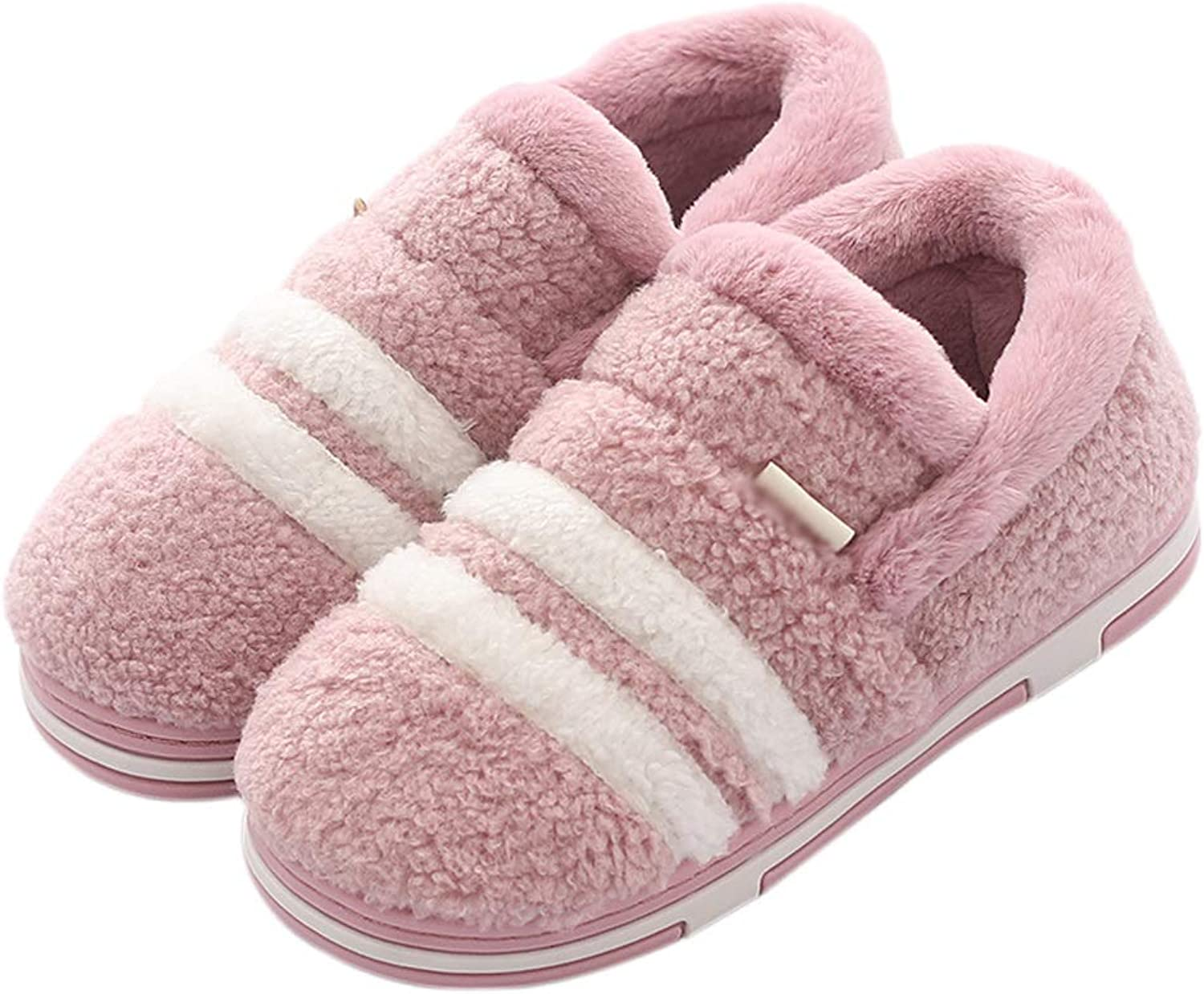 HUYP Female Home Non-Slip Light Purple Fashion Autumn and Winter Cotton Slippers Cute Fashion (Size   6 US)