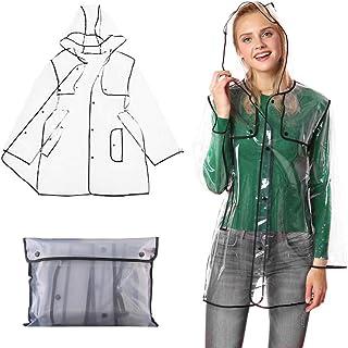 Miniclue Chubasquero transparente con capucha, impermeable reutilizable para mujer, tallas 36 a 42