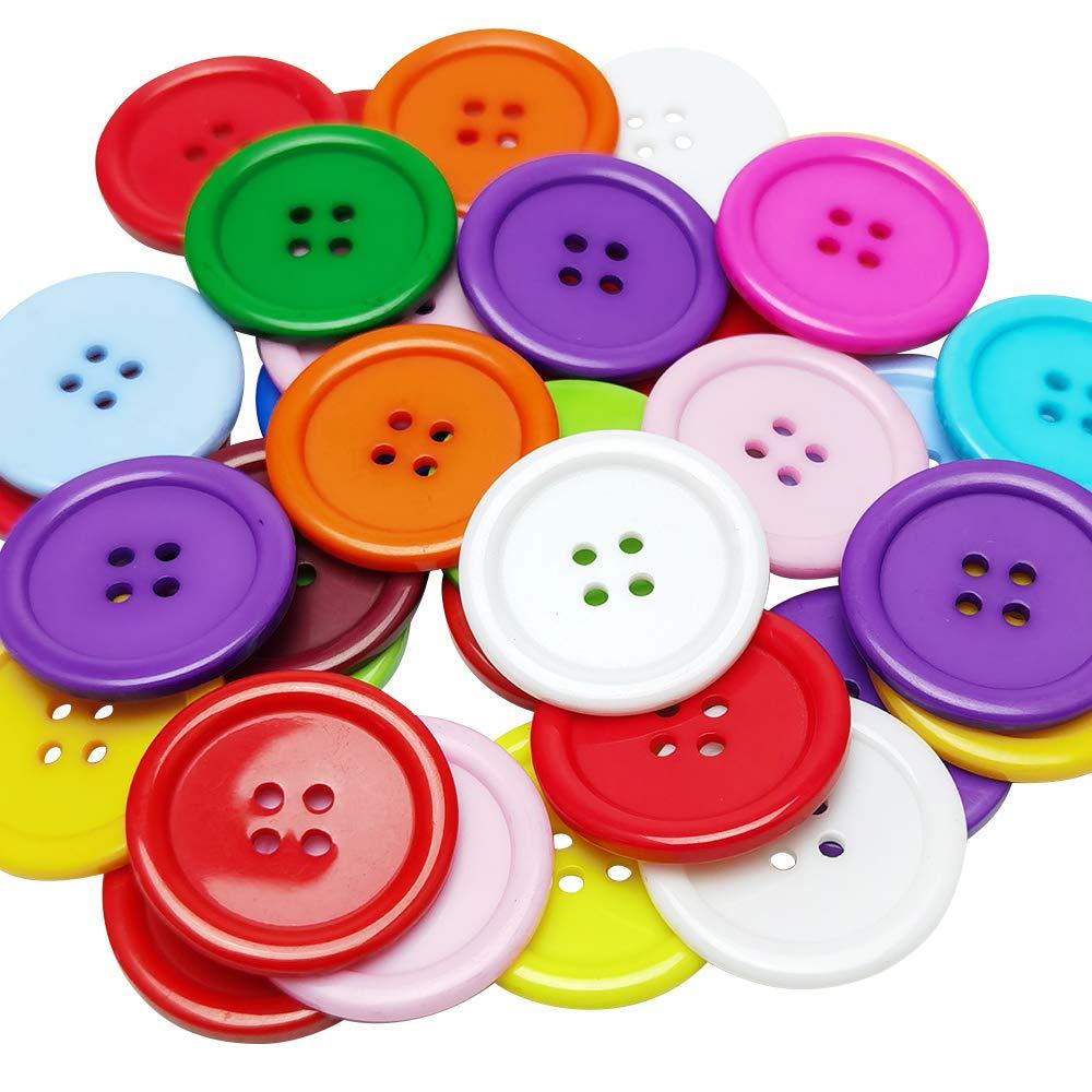 Chenkou Craft Mix Color Plastic Circle Big Button 4 Holes DIY Craft Sewing 30mm 40pcs