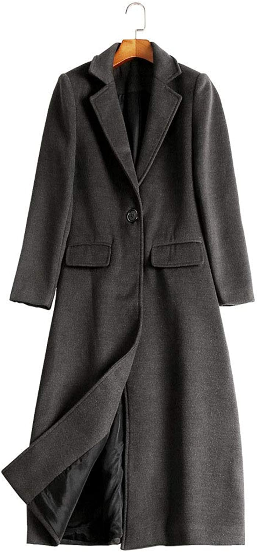 DFUCF Women's Woolen Coat Long Section Long Sleeve Winter Lapel Overcoat