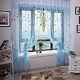 DAYOLY Cortina de gasa con diseño de globo de corazón, para cortinas de cortinas de cortinas con diseño de tul, romántico para paneles de balcón de ventana azul azul