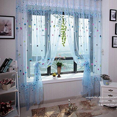 Modischer Tüll-Fenstervorhang, romantisches Blumenmuster, Voile, für Zimmertür, Fenster, Vorhang mit Liebesherzen und Ballonmuster, 1 m x 2 m, Blau