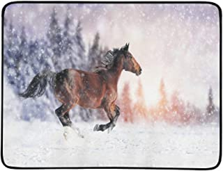 Horse Runs Gallop On The Winter Field Pattern Portable and Foldable Blanket Mat 60x78 Inch Handy Mat for Camping Picnic Beach Indoor Outdoor Travel