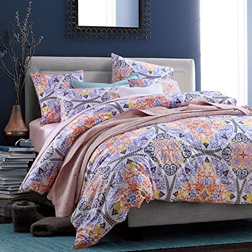 Softta Boho Bedding Sets King Bohemia Style 3Pcs Damask Duvet Cover Paisley Bedding Exotic Geometric Round Pattern Bedding 100% Egyptian Cotton 800 Thread Count White Purple Orange
