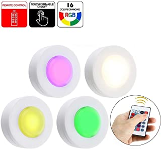 RGB Puck Lights,Wireless Remote Control Tap Lamps,Under Cabinet Lighting Color Changing Lamp,Battery Operated Night Light for Bedroom Hallway Cabinet Wardrobe Counter Shelf Lighting,16 Colors,4 Packs