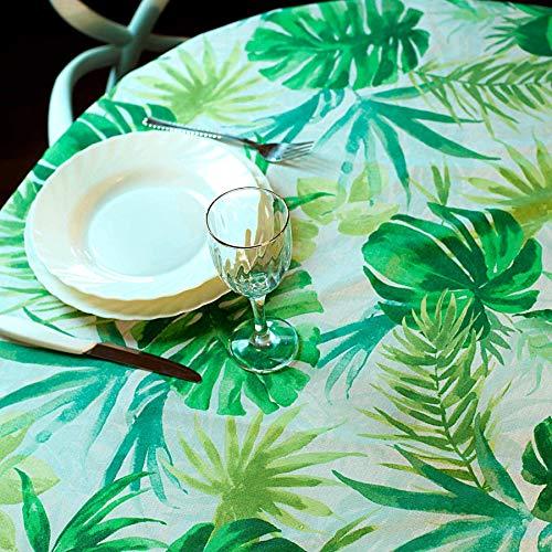 Manifattura Toscana Tovaglia Cotone Antimacchia Liquidproof - Basta Una spugnetta per Pulire Le Macchie - Verde, Rotondo x6