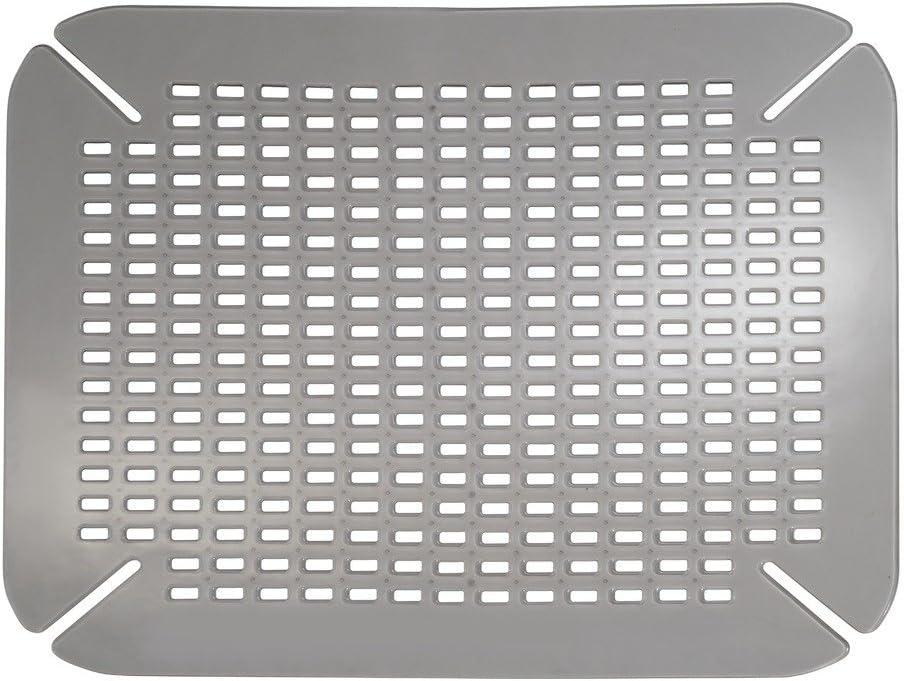 iDesign Alfombrilla escurreplatos, protector de fregadero pequeño de plástico PVC para fregaderos de cocina, rejilla escurreplatos con orificios de drenaje, gris