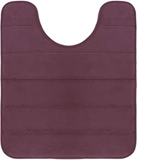 Yimobra Memory Foam Toilet Bath Mat U-Shaped, Soft and Comfortable, Maximum Absorbent, Non-Slip, Thick, Machine Wash and Easier to Dry for Bathroom Commode Contour Rug, 24 X 20 Inches, Potent Purple