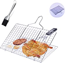 BEMOTA BBQ Grill Basket,Stainless Steel Barbecue Grilling Basket with Removable Handle,for Grilling Fish,Vegetables,Steak, Shrimp,with Basting Brush and Carrying Pouch