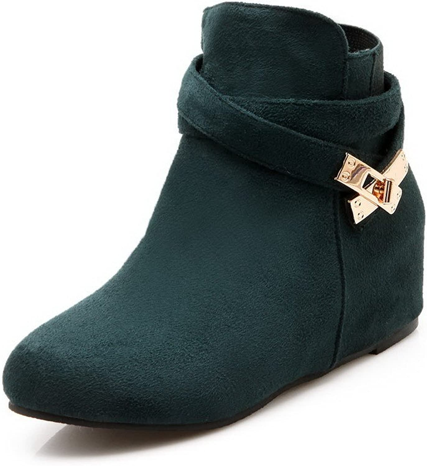 WeenFashion Women's Frosted Round Closed Toe Solid Ankle-high Kitten-Heels Boots