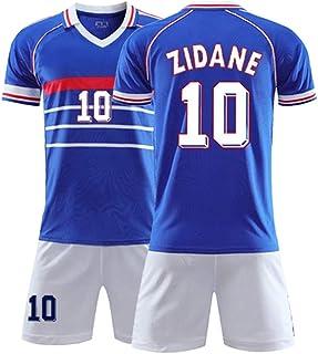 XH Camiseta Zinedine Zidane # 10 Conjunto de Camiseta de fútbol para Hombre Todos los tamaños niños y Adultos (Color : Blu...
