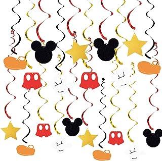 20 PCS Mickey Mouse Hanging Swirls Decorations, Mickey Mouse Hanging Swirls for Baby Birthday Party