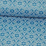 Jacquard Stretch Stoff Blumen & Rautenmuster blau