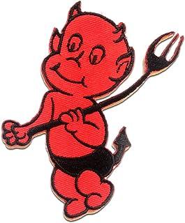 Parches - LITTLE DEVIL - rojo - 8.5x9cm - termoadhesivos bordados aplique para ropa