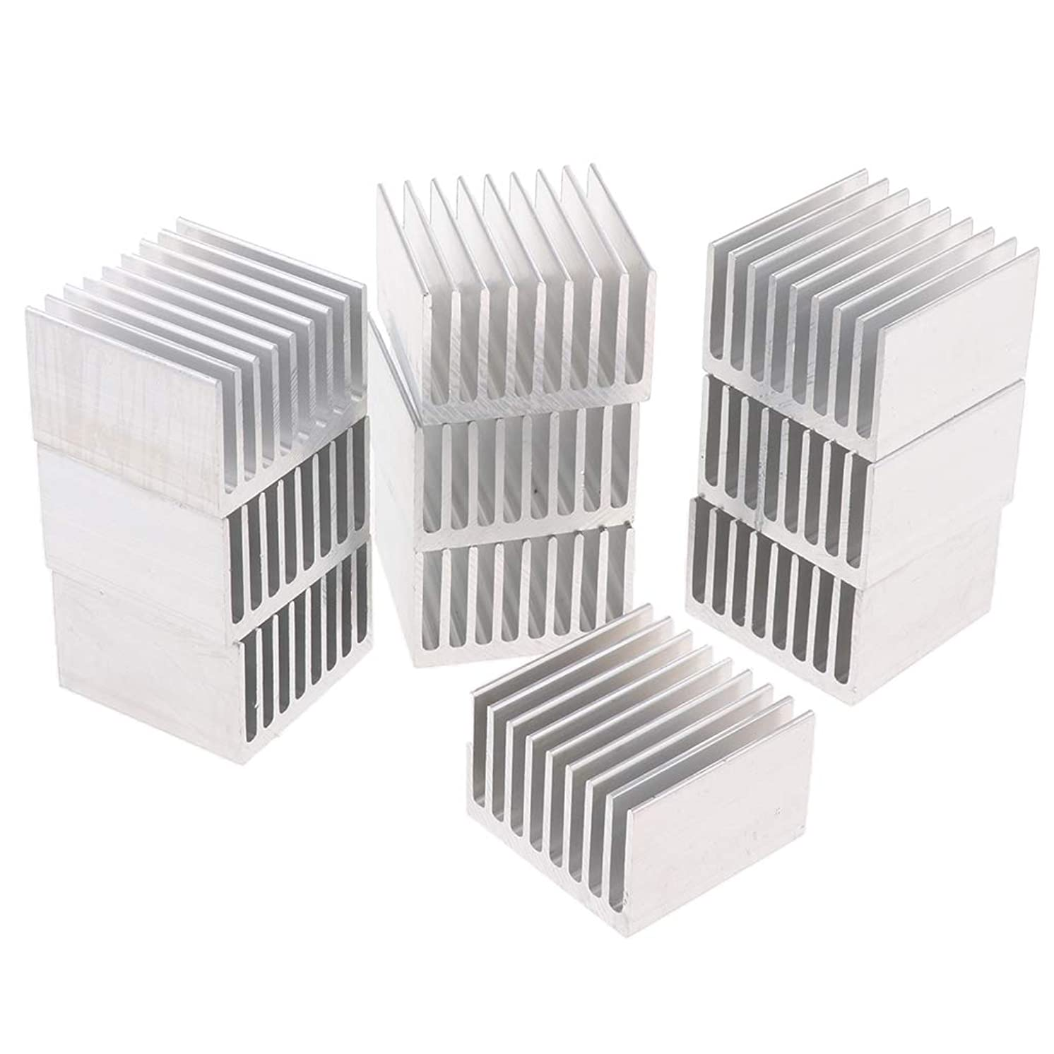 Almencla 10pcs Silver Aluminum Heat Sink Heatsink Module Cooler Fin for Led Amplifier Transistor Semiconductor Devices