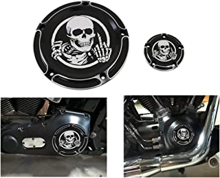 AUFER Black Skull Edge 5-Hole Derby Timer Engine Cover for 1999-2014 Twin Cam Touring Road King Electra Glide FLHR FLHX FXST Dyna