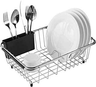 Expandable Dish Drying Rack, 304 Stainless Steel Over Sink Dish Drainer, Dish Rack in Sink or On Counter with Utensil Drying Rack, Rustproof, Medium