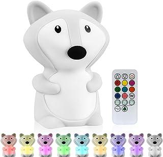 Vicloon Luce Notturna LED per Bambini, Lampada da Notte Neonati in Silicone, 9 Colore Telecomando Tattile Dimmerabile USB ...