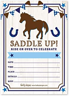 25 Pony Barn Birthday Party Invitation, Horse Farm Cowboy Invite, Little Boy Western Rodeo Kids Themed Bday Supply Idea, Spirit Animal Rustic Wood Printed or Fill in The Blank Card