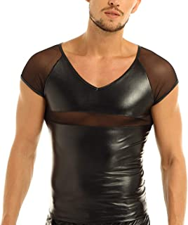 CHICTRY Men's PVC Leather Wet Look Undershirt Tank Top Shirt Clubwear