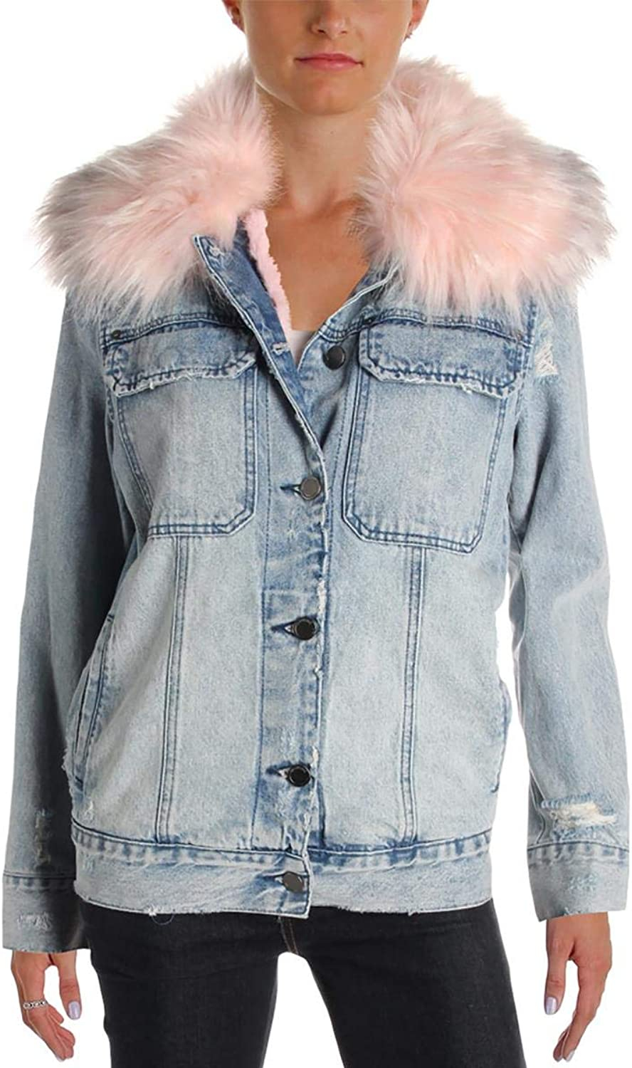[BLANKNYC] Blank NYC Womens Distressed Casual Denim Jacket