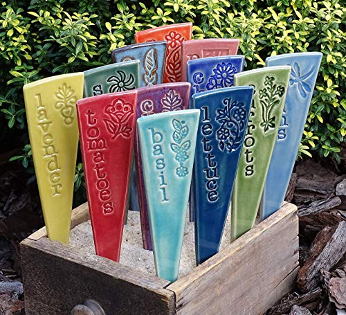 9 Plant Markers - Ceramic Herb & Vegetable Garden Markers - You pick, from the provided list, your set of 9 ceramic garden stakes - plant markers