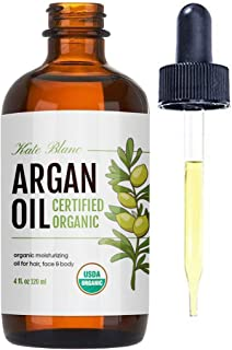 Moroccan Argan Oil, USDA Certified Organic, Virgin, 100% Pure, Cold Pressed by Kate Blanc. Stimulate Growth for Dry and Da...