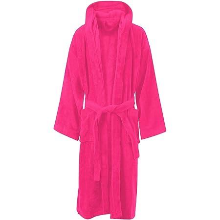MyShoeStore® LUXURY EGYPTIAN COTTON TOWELLING BATH ROBE DRESSING GOWN TERRY TOWEL BATHROBES Small / Medium Fuchsia / Hooded