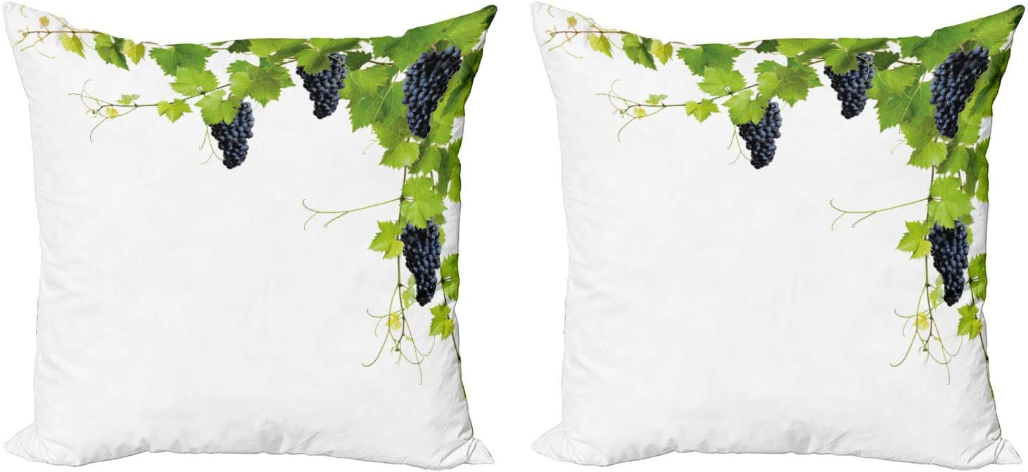 Lunarable Vineyard Throw Pillow Cushion Cover Pack Of 2 Collage Of Vine Leaves Botany Horticulture Framing Weeds Rural Summertime Theme Zippered Double Side Digital Print Decor 16 Black Green Home Kitchen