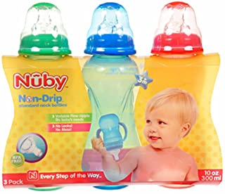 Nuby 3-Pack antigoccia collo standard bottiglie red/green taglia unica