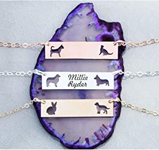 Custom Two Pet BAR Necklace - IBD - Layering Charm - Personalize Animal Breed - 935 Sterling Silver 14K Rose Gold Filled