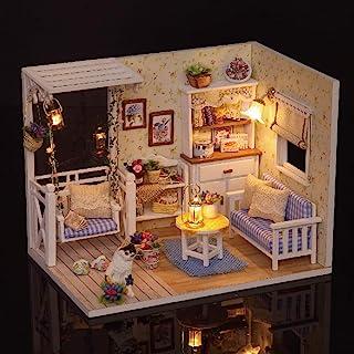 طقم منزل دمى مصغر وثلاثي الابعاد مصنوع يدويا من الخشب مع اثاث واضواء ال اي جي مناسب كهدية عيد ميلاد