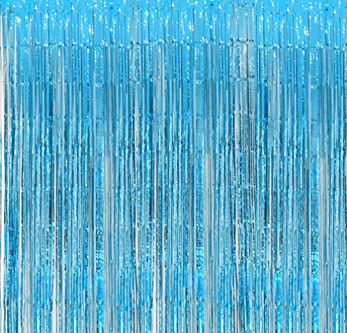 Blukey 2-Packs 3.2ft x 8.3ft Turquoise Metallic Tinsel Foil Fringe Backdrop Curtain for Wedding Christmas Halloween New Year
