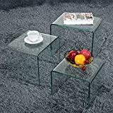 Storeinuk Set of 3 Nesting Tables Nest of Tables Tempered Glass Coffee Table Set End Side Tables Living Room Furniture - White