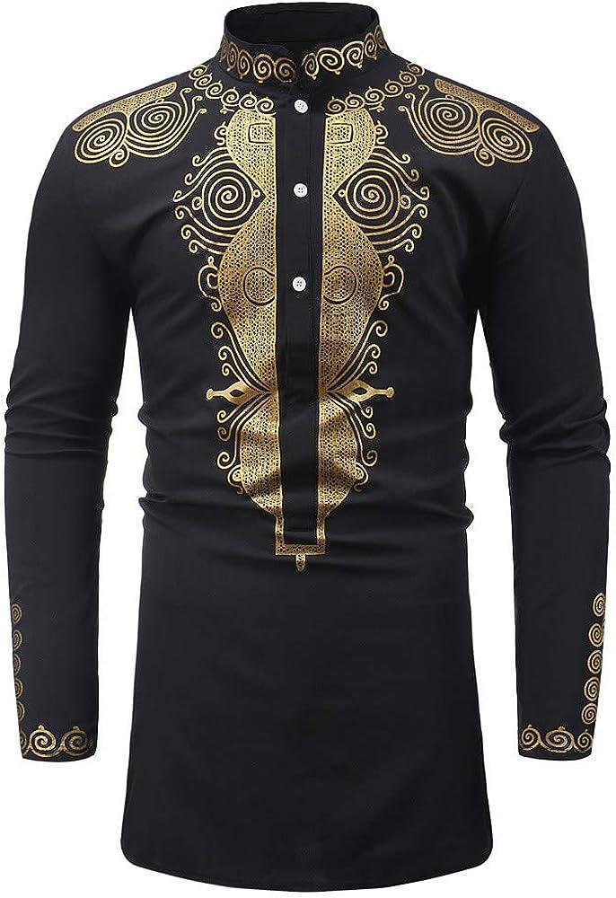 DIOMOR Mens Retro Casual Long Sleeve African Dashiki Shirt Wakanda Tribe Black Panther Vintage Button Dress Shirts Tops