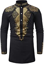 2019 New Hot Personality Mens Luxury African Print Long Sleeve Dashiki Shirt Top Blouse by G-Real